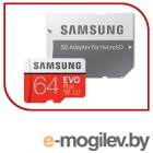 Карты памяти. Samsung EVO Plus v2 MicroSDXC 64GB UHS-I U3 + SD Adapter (R100/W60Mb/s) (MB-MC64GA/RU)