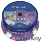 Verbatim DVD+R 8.5Gb 8x 25 шт Cake box Dual Layer  printable 43667