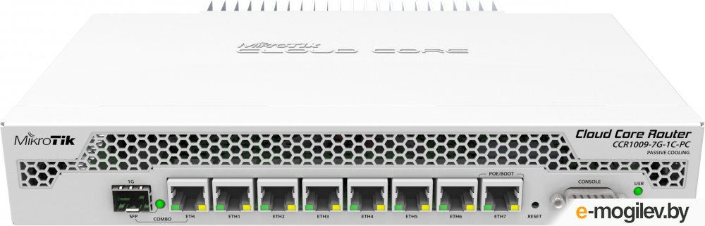 Маршрутизатор MikroTik CCR1009-7G-1C-PC Cloud Core Router  with Tilera Tile-Gx9 CPU (9-cores, 1Ghz per core), 1GB RAM, 7xGbit LAN, 1x Combo port (1xGb